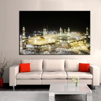 70x100cm - Canvas Print Wall Art - Lesser Bairam Gift Poster Islamic Shrine The Caaba Landscape Prints On Canvas For Living Room