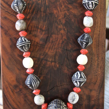 African Spindle Bead Necklace Black and White Terracotta Beads, White Clay Beads, and Red Recycled Paper Beads Colorful African Jewelry