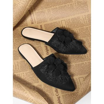 Black Pointed Toe Pom Pom and Tassel Mules