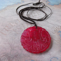 China red jade carved (Rat) amulet pendant