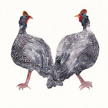 Two Helmeted Guinea Fowls  Archival Print by unitedthread on Etsy