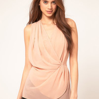 Pink V-Neck Wrapped Shift Shirt