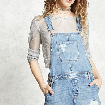 Distressed Overall Mini Dress
