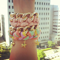 pastel color woven golden chain bracelet with stars