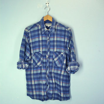 80s Flannel Shirt Blue Plaid Wilderness Mens Shirt Distressed