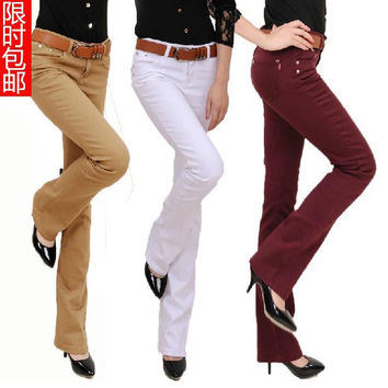 Free shipping Plus Size Women 's Fashion Boot Cut Trousers Candy Colors Pants pencil pants Long Fashion Slim Formal Trousers