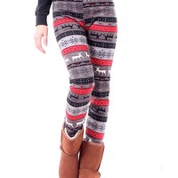 HDE Women's Funky Nordic Pattern Fleece Lined Winter Leggings (Santa's Little Helper)