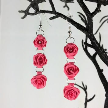 Paper Quilled Valentine's Day Earrings, Pink Roses - paper quilling earrings, paper quilled jewelry, paper quilling jewelry, Valentine's Day