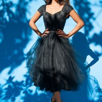Lesley-Ann Dress in Black with Black Tulle