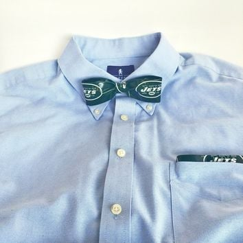 Green Clip-On Bow Tie Set For Men, NFL NY Jets Bowtie, Cool Ties