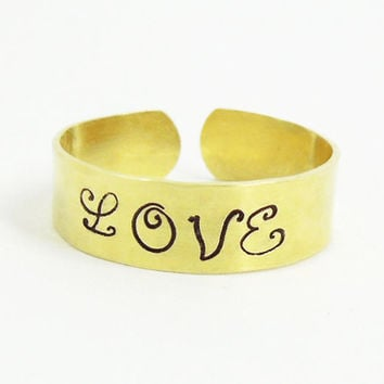 Hand-stamped love ring - Brass ring - Adjustable gold tone ring - Jewelry for men Jewelry for women - Relationship ring Promise ring