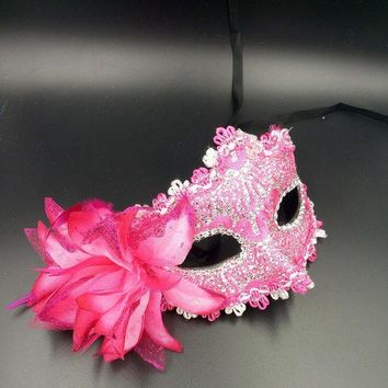 ICIKF4S 10pcs Halloween Venice Half Face Lily Feather Mask Fancy Ball Party Princess Mask Masquerade Masks Female Ladies Big Flower