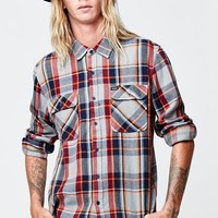 Brixton Bowery Navy Flannel Shirt - Mens Shirts - Navy/Light Blue - Large