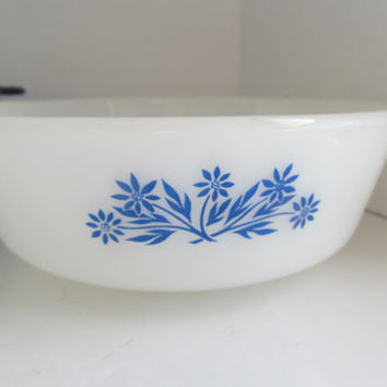Fire King 1950s Milk Glass Casserole Dish Mid Century Glass Blue and White Fire King Cornflower Pattern Anchor Hocking Fireking Baking Dish