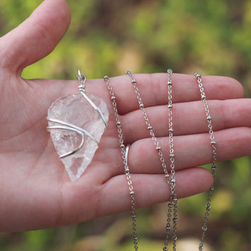 Wire Wrapped Quartz Arrowhead Necklace