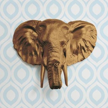 The Large Savannah Bronze Faux Taxidermy Resin Elephant Head Wall Mount | Bronze Elephant w/ Colored Tusks