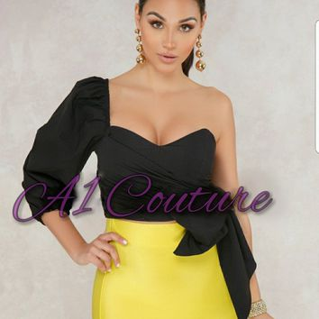 Genevieve Black One Shoulder Multi Way Top
