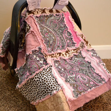 25% off Christmas Sale CAR SEAT COVER, Nursing Cover, Rag Quilt, Paisley, Pink, Brown, Baby Blanket, Ready to Ship