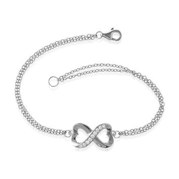 "Sterling Silver 7"" Synthetic Stone Heart-Designed Infinity Figure 8 Double-Strand Bracelet"