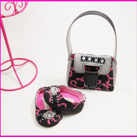 "American Girl Dolls Designer Purse ""Bellina"" Pocketbook Handbag Includes Slip On Flats Hot Pink Black Gray"