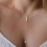 Suppion Women Bohemia Simple Little Triangular Tassels Chian Bar Alloy Necklace