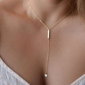 Jiayiqi Jewelry Women Bohemia Simple Little Triangular Tassels Chian Bar Alloy Necklace