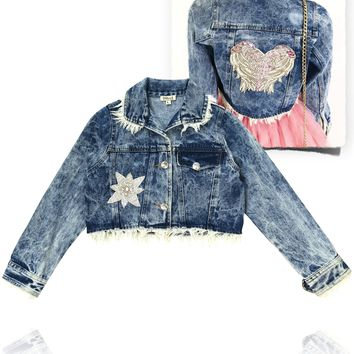 [ PRE ORDER !] DOLLY by Le Petit Tom ® ANGELS star angel denim jacket