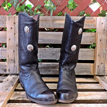 Tony Lama cowgirl boots 6.5 / vintage 80s black cowboy boots /  leather western boots