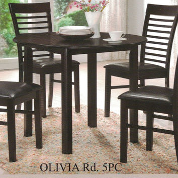 "Casa Blanca CB-Olivia-RD-5PC 5 pc Olivia espresso finish wood 42"" round dining table set"