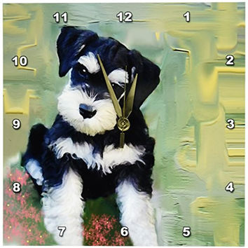 3dRose LLC Miniature Schnauzer 10 by 10-Inch Wall Clock