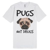 pugs not drugs-Unisex White T-Shirt