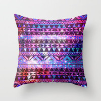 Girly Andes Aztec Pattern Pink Teal Nebula Galaxy Throw Pillow by Girly Trend | Society6