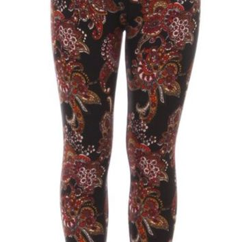 Girls Paisley Leggings Henna Flowers Red/Black: S/L