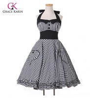 Robe de Cocktail Dress 2017 New Summer style Plus Size Retro 50s Pin up Plaid Rockabilly Vintage Dresses Women clothing vestidos