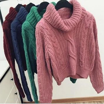 Retro Twisted Loose Pullover Turtleneck Sweater with Bat Sleeve