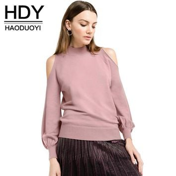 HDY Haoduoyi 2017 New Fashion Sweater Women Casual Solid Pink Lantern Sleeve Pullovers Preppy Off-shoulder O-neck Autumn Sweater