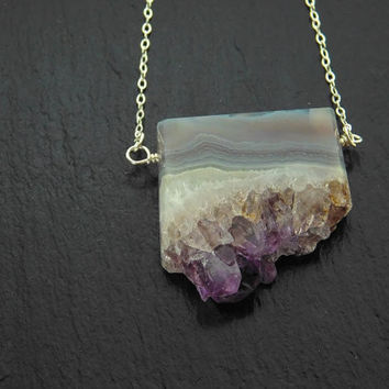 Amethyst Slice Necklace - Crystal Necklace - Amethyst Crystal - Amethyst Slab - Silver -OR- Gold Necklace - February Gemstone