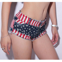 American Flag Hot Denim Shorts