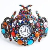 New arrival Rhinestone Beetle Watch Bangle Bracelet unique design alloy