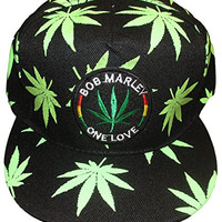 Rasta Weed Marijuana Leaf Flat Bill Adjustable Snapback Hat (One Love Bob Marley)