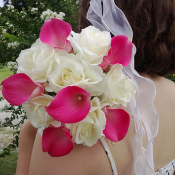 Real Touch Hot Pink Calla Lily Ivory Rose Wedding Bouquet, Hot Pink Ivory Bouquet, Hot Pink Bouquet, Calla Lily Bridal Bouquet