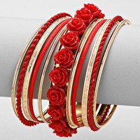 Red & Gold Rose 11 Layered Bracelets