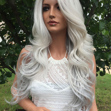 "Grey Silver 24"" Lace Front Wig"