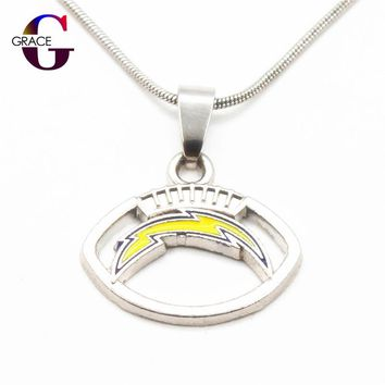Fashion San Diego Chargers Team Charms Football Sports Pendant Necklace With Snake Chain(45+5cm) Necklace For Women DIY Jewelry