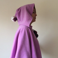Lavender Hooded Cape, Polar Fleece Cozy Capelet, Hooded Short Cape, Pompom, Soft Winter Accessory, Designscope, Gift Ideas for Her