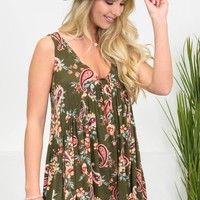 Bohemian Paisley Olive Top