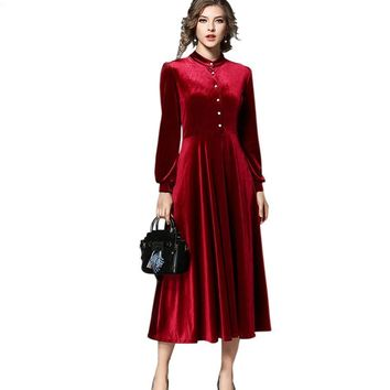 New Fashion Winter Dress European Women Vintage Solid Long Sleeve A-Line Casual Velvet Dresses Evening Party Vestidos Mujer