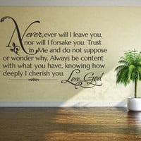 Religious Wall Quote. Never, Ever Will I Leave You - CODE 096
