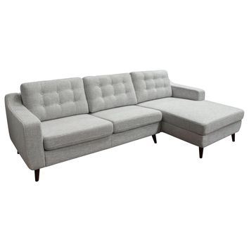 Jordana RF 2PC Sectional with Tufted Back Cushions in Light Grey Fabric