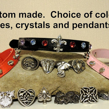 Custom crystal studded and spikes choker with medallion.  Black, Red or Light Pink colors available
